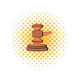 Judge gavel icon, comics style Stock Images
