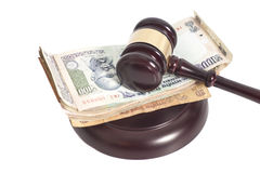 Judge gavel and Indian Currency Rupee bank notes on white backgr Royalty Free Stock Images
