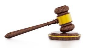 Judge gavel isolated on white background. 3D illustration.  Stock Photos