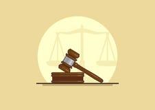 Judge gavel. Isolated judge gavel on a white background, vector illustration Royalty Free Stock Photos