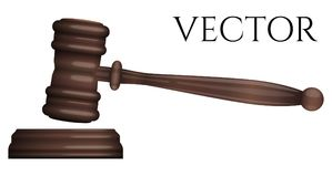 Judge gavel isolated on white photo-realistic vector. Illustration Royalty Free Stock Photography