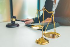 Judge gavel with Justice lawyers, Businesswoman in suit or lawyer, Advice and Legal services Concept. royalty free stock photography