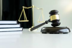 Judge gavel with Justice lawyers Plaintiff or defendant  meeting. At law firm in background. Concept of law Stock Images