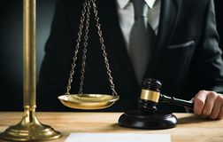 Judge with a gavel. And the justice scale Stock Photography