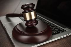 Judge gavel on laptop concept Stock Image