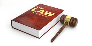 Judge gavel and law book on white background. 3d illustration. Law theme. Judge gavel and law book on white background. 3d illustration Royalty Free Stock Image