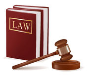 Judge gavel and law books. Photo-realistic Stock Images