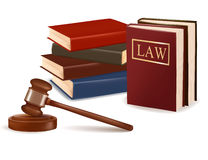 Judge gavel and law books. Photo-realistic vector Stock Photography