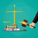 Judge gavel with law books and scales Royalty Free Stock Photos
