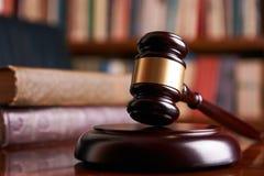 Judge gavel or law mallet on a wooden desk Stock Images