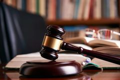 Judge gavel or law mallet on a wooden desk Royalty Free Stock Photography
