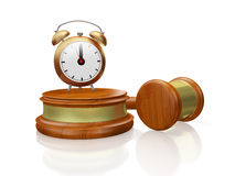 Judge Gavel Mallet and Antique Alarm Clock Royalty Free Stock Photos