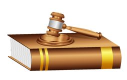 Judge Gavel Mallet on a Book Royalty Free Stock Images