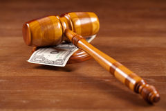 Judge gavel and money Royalty Free Stock Photos