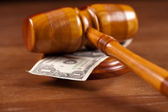 Judge gavel and money Stock Images