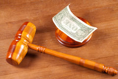 Judge gavel and money Royalty Free Stock Image