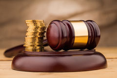 Judge gavel with money   closeup Stock Photo