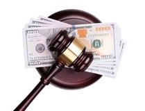 Judge gavel and money isolated on white Stock Image