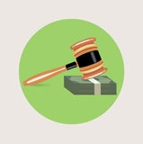 Judge gavel with money stack flat vector Royalty Free Stock Photos