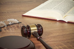 Judge gavel and old books Stock Images