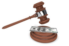Judge gavel and one hundred dollars Stock Photography