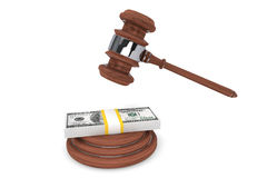 Judge gavel and one hundred dollars Royalty Free Stock Photos