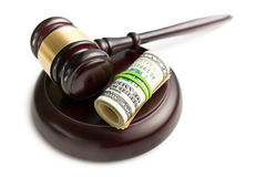 Judge gavel with pack of dollars Royalty Free Stock Photos
