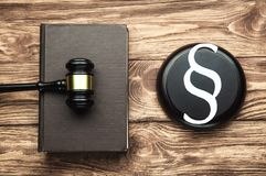 Judge Gavel, Paper Paragraph symbol and Law book. Law and Justice concept stock photos