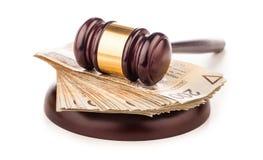 Judge gavel and polish money isolated on white Stock Images