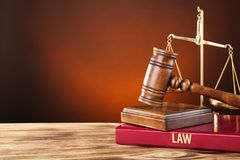 Judge gavel, scales and book Stock Photography
