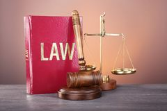 Judge gavel, scales and book Royalty Free Stock Photos