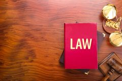 Judge gavel with scales and books Stock Photography