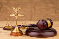 Judge gavel  and scales closeup. Judge gavel and scales  on table closeup Royalty Free Stock Photos