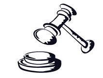 Judge gavel,sketch shape,vector from Stock Images