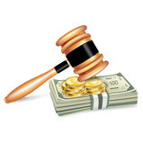 Judge gavel and stack of money isolated on white Royalty Free Stock Image