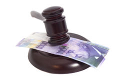 Judge Gavel and Swiss Thousand Franc Currency Stock Photos