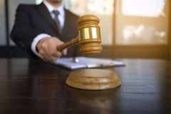 Judge with gavel on table. attorney, court judge,tribunal and justice concept stock photography