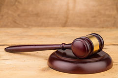 Judge gavel on table Stock Photos