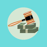 Judge gavel with two money stacks flat  Royalty Free Stock Photo