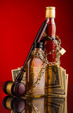 Judge gavel and whisky bottles Stock Photography