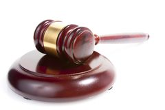Judge gavel  on white Royalty Free Stock Photography