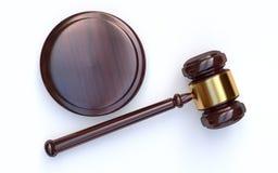 Judge gavel on white background stock photography