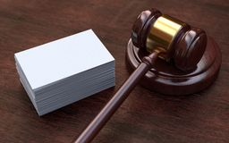 Judge gavel, white, blank business cards Royalty Free Stock Image