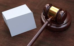 Judge gavel, white, blank business cards Stock Image