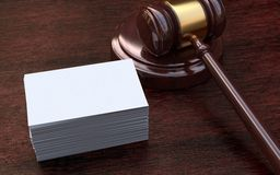 Judge gavel, white, blank business cards Royalty Free Stock Photos