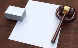 Judge gavel, white paper and business cards Stock Photos