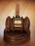 Judge gavel on wooden background Stock Photo