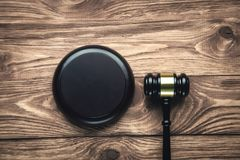 Judge Gavel on a wooden desk. Law concept stock photo