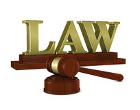 Judge hammer and. One 3d render of a judge hammer and a nameplate with the word law Stock Photos