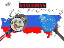 Judge hammer, European Union and United States of America sanctions against Russia, flag and emblem. 3d illustration. Isolated on Royalty Free Stock Images